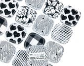 """20 Reusable 3"""" FACIAL ROUNDS made from flannel scraps in black & white prints."""