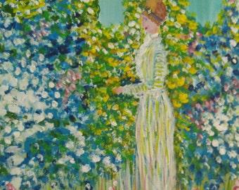 Lady in the Garden (Frieske), acrylic, 11 x 14 (Courtesy of The Art Sherpa)