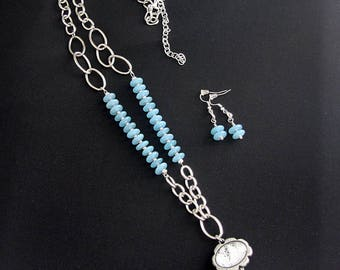 Blue and Silver Chain Necklace and Earring Set, Light Blue and Silver Necklace, Blue Necklace, Blue and Silver Long Necklace