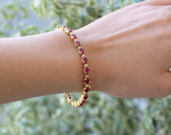 Antique Ruby bracelet with diamond accents 14k Yellow Gold