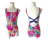 90s Swimsuit Neon Bathing Suit High Cut 1990s One Piece Cut Out Back Tropical Floral Flower Print Size Medium M