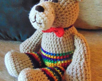 "Crocheted teddy bear stuffed animal doll toy ""Benny"""