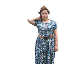 90s plus size grunge dress / boho floral dress / button up summer dress / mid length 90s sun dress / large size vintage cotton dress / blue