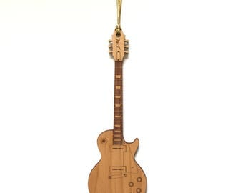 """Personalized Wood 1950's Les Paul Guitar Ornament """"Gold Top"""" Style"""