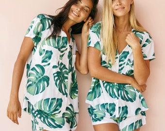 Maggie Pajama Set - Panama Palm Leaf - Code P043 / P005