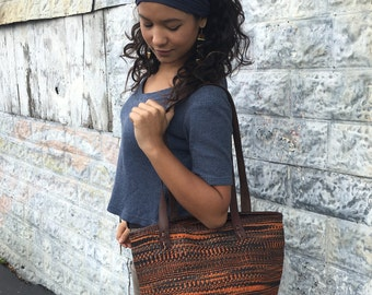 The Zahara Tote - Large Woven Sisal Bag with Dark Brown Leather Straps