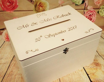 WHITE Lockable Wedding Guests Wish Post Box with a key Wooden with Slot Cards Envelopes Drop in Memory Bride and Groom Personalised