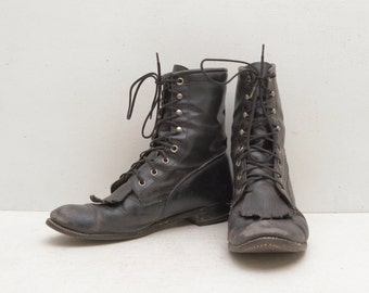 Vintage Women Size 9 Cody Roper Boots Black Lace Up Leather; Unisex Steampunk Western Hip; FREE Shipping U.S.A.