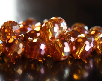 30 orange with pink AB plated glass beads, round faceted, 10 mm, hole 1 mm