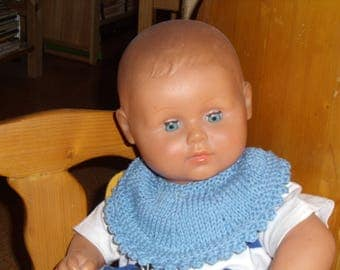 Knitted bib in pink, blue, purple, Brown, yellow, red or green