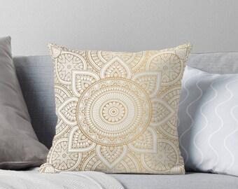 Gold Mandala Pattern Pillow Cover, Throw Pillow, Bohemian Throw Pillow, Gold Boho Mandala, Indoor Throw Pillow Cover, Throw Pillow Cover