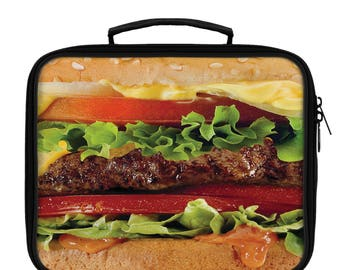 Cheeseburger Lunch Bag, Kids Lunch Box, Hamburger Lunch Tote, Back to School Gift for Kids, Kids Lunch Bag