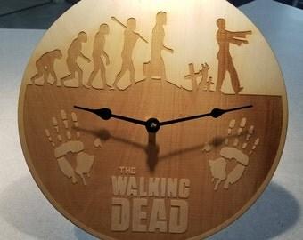 Walking dead inspired wooden clock