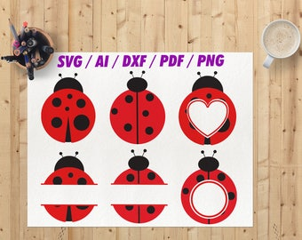 Ladybug svg / Ladybug monogram frames svg / Ladybug monogram Dxf / Png / Eps / Ai / Cricut file / Silhouette studio / Cameo