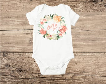 First Birthday Baby Clothes, Flower Wreath with One