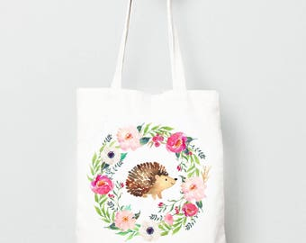 Kids Tote Bag, Hedgehog in Flower Wreath