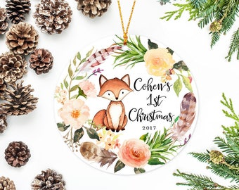 Baby's First Christmas Ornament, Personalized Children's Ornament, Little Fox