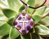 Orgone Pendant - Tigers Eye - Ankh - Solar Plexus Chakra Healing  - Metaphysical Healing Lightworker Jewelry - Orgone Energy - Small