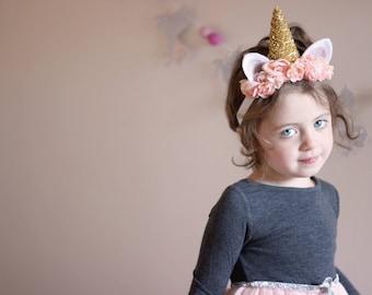 Unicorn Headband - Gold Unicorn - Unicorn Costume - Baby Unicorn Headband - Unicorn Horn Headband - Pink Unicorn Headband - Unicorn Party