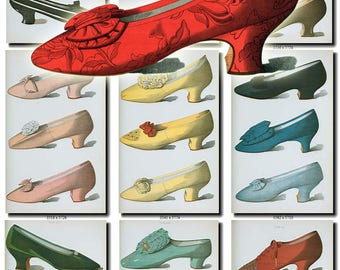 FASHION-4 Collection of 21 vintage woman shoes of 19th century printable digital download old sketch nice and beautiful style white velvet