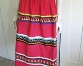 Vintage 50's/60's Patchwork  Ethnic Cotton Skirt - Hand Made// Size Medium