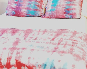 Hand Dyed Tie Dye Duvet Cover Set >>Bohemian Bedding>> Pastels>>Boho bedding>> Twin Full Queen King