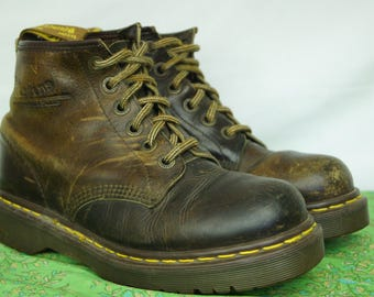 Vintage Doc Marten Six-Hole Brown Boots - Size 8 UK, 9 men's US, 10 women's US - Made in England - D319