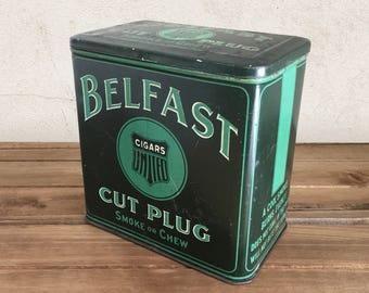 Vintage Belfast Cigar Tin / Tobacco Tin, Tobacco Can, Advertising Tin, General Store Display / Primitive Rustic Decor, Farmhouse Decor