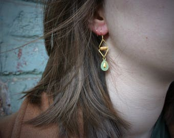EARRING for women, drop patina charm  (turquoise),wood pearls and gold triangles. -B0121