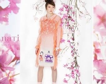 SAKURA cherry blossom DRESS flouncy silk tulle peach pretty long sleeve