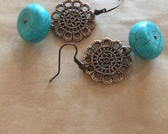 Antiqued Copper and Howlite Earrings