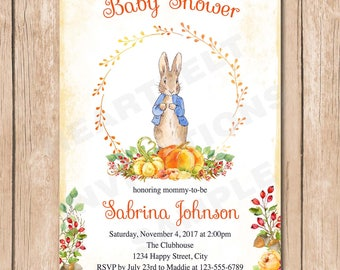 Fall Peter Rabbit Baby Shower Invitation | Floral, Neutral, Vintage, Shabby Chic, Watercolor - 1.00 each printed or 12.00 DIY file