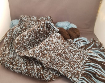 Alpaca scarf, hand crochet, star stitch, handmade in Colorado