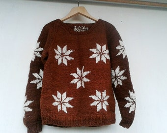 Vintage Brown Hand Knit Wool Sweater with Snowflakes Pattern