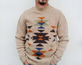 Vintage lambswool Sweater GANT Knit Pullover Oatmeal  Sweater Mens Wool Jumper. Made in Italy. Navajo Tribal Retro Indie