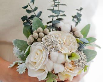 Custom Artificial Bouquet, Winter Wedding, Silk Flower Bouquet, Brooch Bouquet, Bridal Bouquet, Artificial Flower Bouquet, Dried Flowers