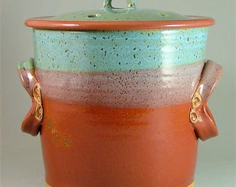 Pottery Compost Pot - Red and Turquoise Blue with Speckles  / Kitchen Counter-Top Compost / Veggie Scrap Container