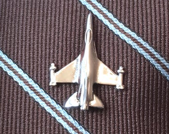 Silver Jet Tie Tack, F16 Falcon Fighter Jet Men's Accessory, Plane Tie Pin, Aviator Tie Pin Airplane Mens Jewelry, Aviation Flight Lapel Pin