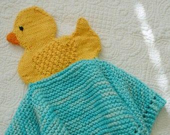 PDF Knitting Pattern Duckie Security blanket lovey puppet         kp3317