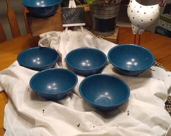 BLUE & WHITE ENAMELWARE Bowls, Blue Graniteware, Rustic Farmhouse Decor, Set of 6 Bowls, Cereal/Snack Bowls, 6 in Bowls, Camping Dishes