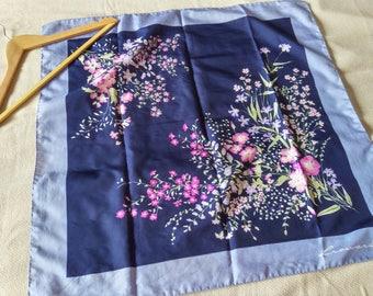 Vintage floral scarf/ Blue and pink hipster scarf/Boho floral scarf/ Leonardi scarf