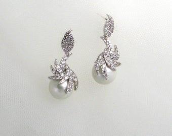 Sale-CZ & Pearl drop earrings, Pearl earrings, Cluster CZ earrings, Crystal earrings, Wedding earrings, Silver,Petite dangle earrings