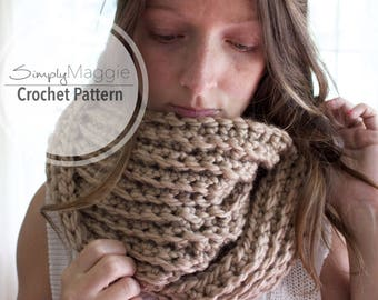 Crochet Pattern // Ribbed Infinity Scarf // Chunky Scarf // Beginner's Pattern // Simply Maggie