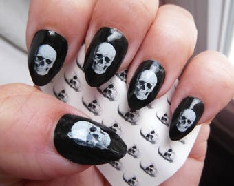 White SKULL Nail Art Decals (SKL) 35 Realistic looking Skulls - Nice on Black Waterslide Pirate Nail Stickers, Works over any color polish