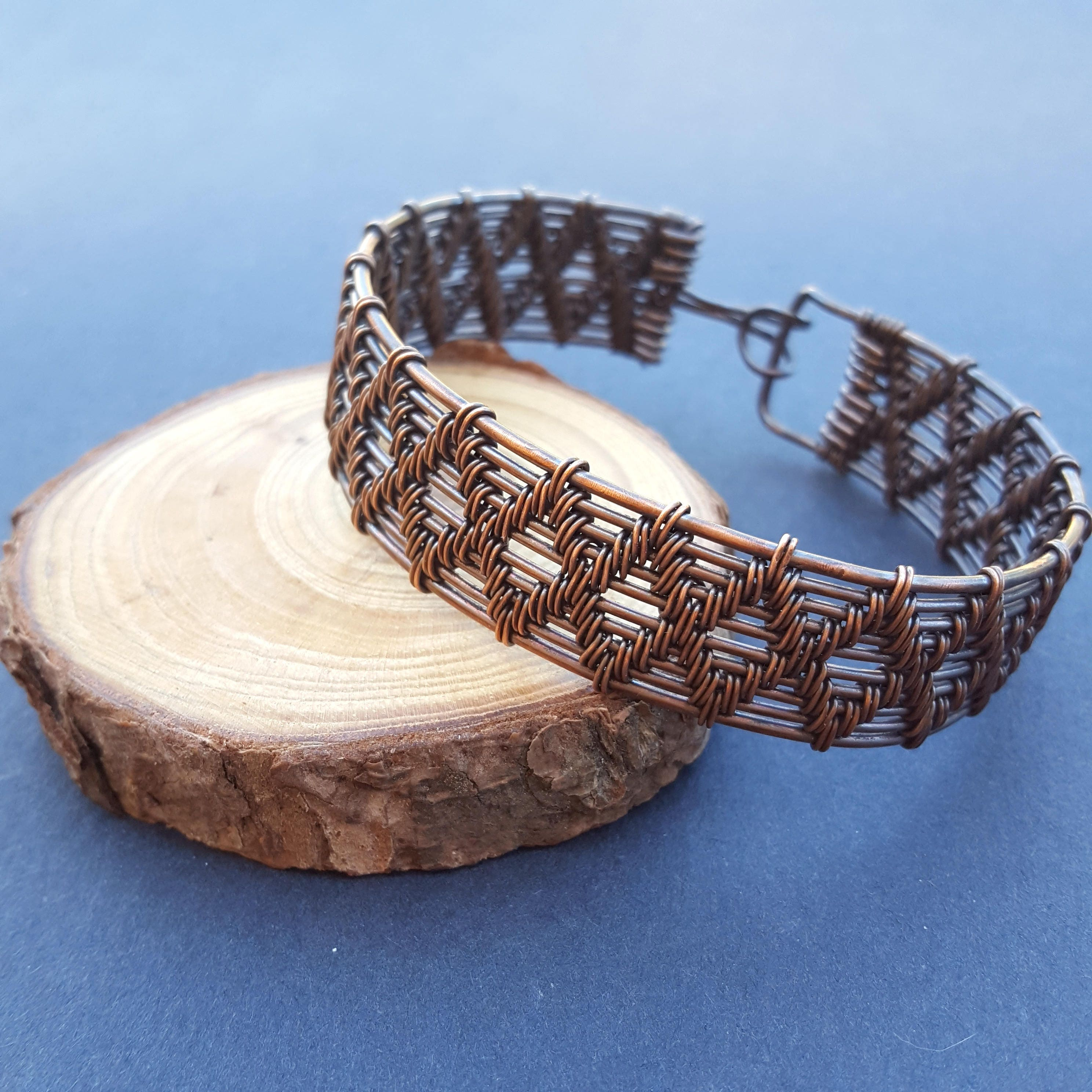 Large Copper Cable : Large copper bracelet wire wrapped