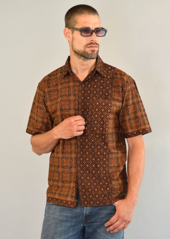Sri Lankan Batik Shirt - Vintage 80s Green Burgundy White Sri Lanka Batik Shirt Short Sleeve Border Design Resort Cabana Kramer Shirt Size M Hkd4fgzZwF