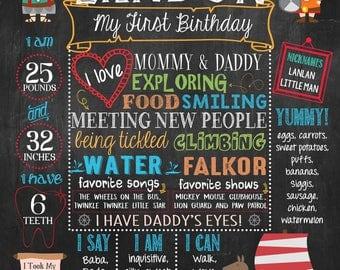 Viking First Birthday Chalkboard Poster, Nautical Birthday chalkboard, Little Vikings Birthday sign PRINTABLE FILE