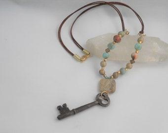 Aqua Terra Jasper and antique key necklace, fossil beads, jasper necklace, key necklace