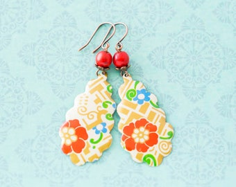 Colorful Japanese Style Flower Teardrop Earrings with Red Coral Beads, Antique Copper, Asian Jewelry