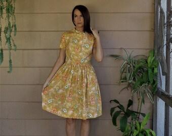 Vintage 50's Dress / Floral Midi / Medium